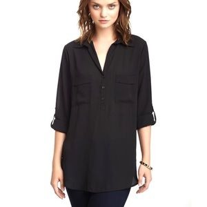 Pleione Roll Sleeve Popover Blouse Large